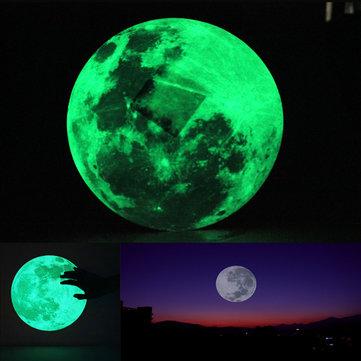 30cm Grande Lua Adesivo De Parede Removível Brilho Na Etiqueta Escura
