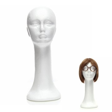 Styrofoam Long Neck Female Foam Head Model Glasses Hair Wig Mannequin Hat Stand Display