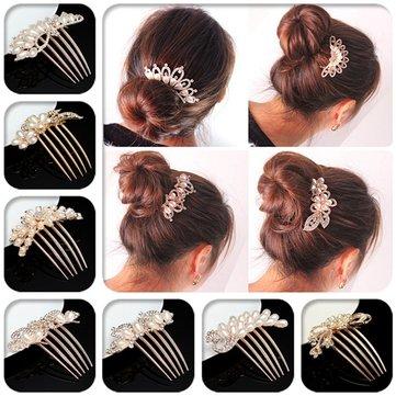 Blomst Crystal Rhinestone Pearl Hair Clip Kombinera Hårspets