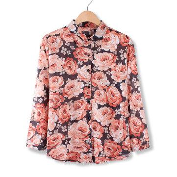 महिला आरामदायक विंटेज पुष्प मुद्रित ब्लाउज लंबी आस्तीन शर्ट