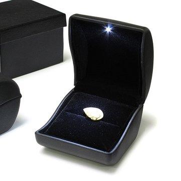 Luxury Black PU Leather LED Lighted Ring Box Trang sức Hộp quà cưới