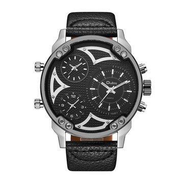 OULM HP3548A Work-dials Military Style Men Watch Genuine Kulit Strap Kuarsa Watches