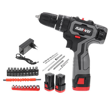 Nanwei 18V Brushed Impact Drill 27N or M Li ion Rechargeable Electric Flat Drill Screw Driver 2 Speeds 25+3 Gears + 2 Battery