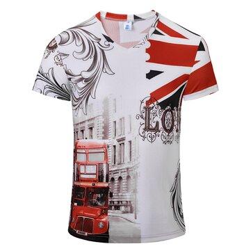 पुरुषों फैशन रंग मुद्रण सांस लेने योग्य आरामदायक टी शर्ट्स वी-कॉलर लघु आस्तीन शीर्ष टीज़