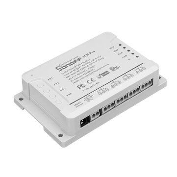 SONOFF® 4CH Pro R2 10A 2200W 2.4Ghz 433MHz RF Inching / נעילה עצמית / Interlock בית חכם מודול WiFi Wireless Switch App שלט רחוק AC 90V-250V / 5-24V DC דין הרכבה הרכבה הבית אוטומציה מודול