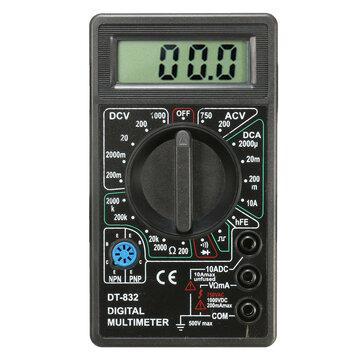DANIU DT832 Digital LCD Multimeter Ohm Voltage Ampere Meter Buzzer Function Test Probe