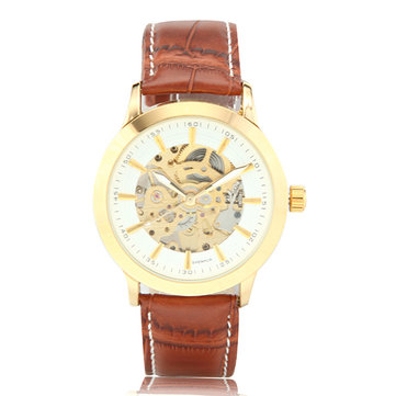 Men Skeleton Dial Automatic Mechanical Business Wrist Watch