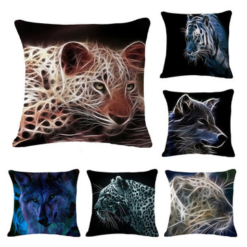 Honana 45x45cm Home Decoration Black 3D Fluorescence Animals 6 Optional Patterns Cotton Linen Pillowcases Sofa Cushion Cover