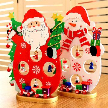 Christmas 2017 DIY Cartoon Wooden Santa Claus Ornament Table Desk Decoration Christmas Gifts