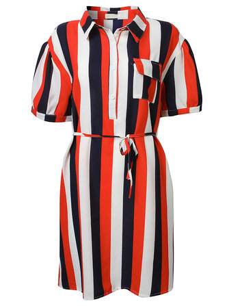 Euramerica Women Color Block Stripe Polo Dress