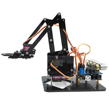 URUAV DIY 4DOF Robot Arm 4 Axis Acrylic Rotating Mechanical Robot Arm With R3 4PCS Servo
