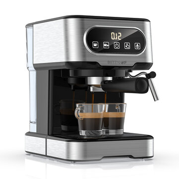 BlitzWolf BW CMM2 Espresso Machine 20 Bar High Pressure Extraction Milk Frothing Accurate Control Dual System Safe Protection 1100W Coupon Code and price! - $94.38