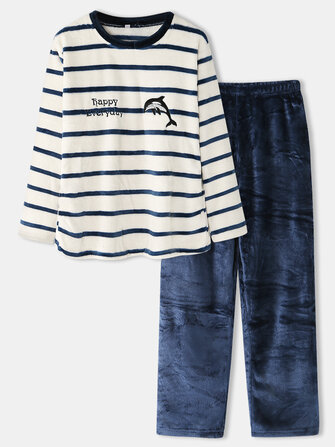 Buy Women Plus Size Striped Cute Whale Pattern Flannel Round Neck Casual Home Pajamas Set with 2 on Gipsybee.com