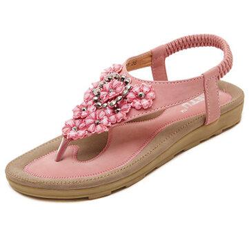 US Size 5-10 SOCOFY Women Diamond Bohemian Casual Outdoor Beach Flower Flat Sandals