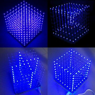 Geekcreit® 8x8x8 LED Cube 3D Light Square Blue LED Flash Electronic DIY Kit