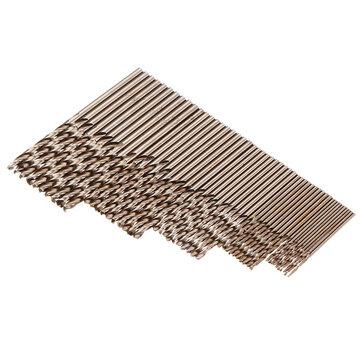 Drillpro 50pcs 1/1.5/2/2.5/3mm HSS M35 Cobalt Twist Drill Bit