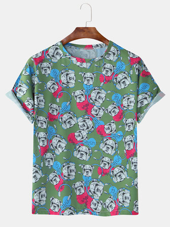 Buy Mens Funny Dog Printing Crew Neck Breathable Casual T-Shirts with Litecoins with Free Shipping on Gipsybee.com