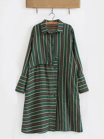 Casual Mujer Camisas irregulares de manga larga y media manga con solapa a rayas
