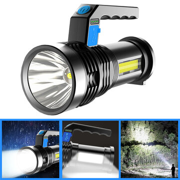 XANES P500 Double COB 1500M Long Range Strong LED Flashlight with Sidelight Powerful Handheld Spotlight LED Searchlight Coupon Code and price! - $8