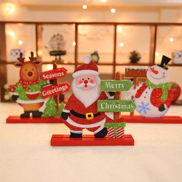 Christmas 2017 Table Decoration Wood Christmas Snowman Santa Claus Elk Ornament Decor Crafts