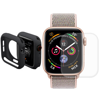 Enkay TPU Watch Cover + 3D buet kant Hot Bending Watch Screen Protector For eple Watch Series 4 44mm