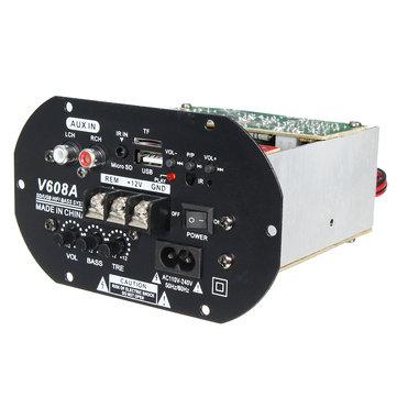 V608A 80W High Power Bass Car Hi-Fi Subwoofer Amplifier Board Module TF USB 110V-220V