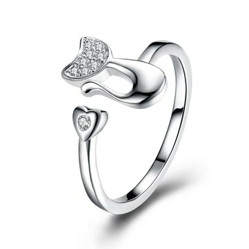 YUEYIN Fashion Trend Ring Silver Plated Cat Romantic Heart Opening Adjustable Finger Rings for Women