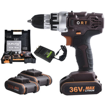 36VF Brushless Cordless Impact Drill Electric Screwdriver LED Light with 2Pcs Li-ion Batteries
