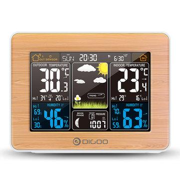 DIGOO डीजी-EX002 लकड़ी अनाज रंग स्क्रीन मौसम स्टेशन HD रंग स्क्रीन आउटडोर इंडोर थर्मामीटर आर्द