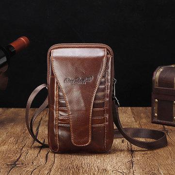 Men Genuine Leather Waist Bag Shoulder Phone Bag Crossbody Bag