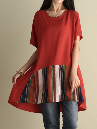 Women Stripe Patchwork Loose O-neck T-shirts