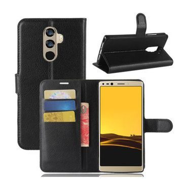 Bakeey Flip Litchi Pattern PU Leather Wallet Card Slot Stand Case For DOOGEE MIX 2