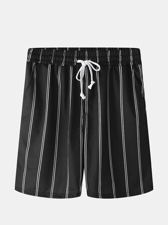 Men Casual Elastic Waist Drawstring Pocket Stripes Home Shorts