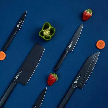 HUOHOU 5PCS Non_stick Stainless Steel Kitchen Knife Set Chef Knife Fruit Knife Chopper Slicer Blade from Xiaomi Youpin  Cool Black