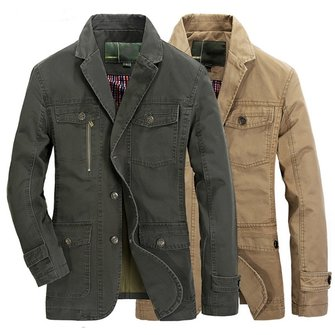 Mens Autumn Cotton Multi Pockets Single-breasted Casual Business Button Blazers Jacket