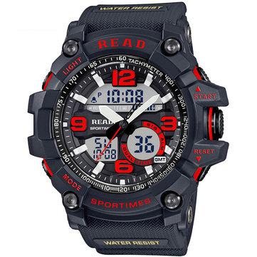 LEER R90001 Dual Pantalla reloj digital cronógrafo Impermeable alarma reloj de cuarzo de los hombres