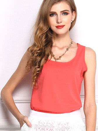 Сплошной цвет без рукавов O шеи шифон жилет для женщин