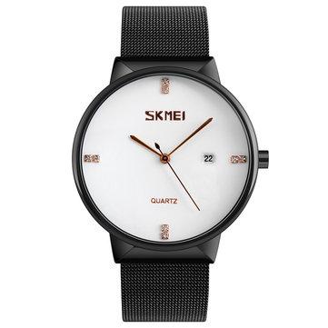 SKMEI 9164超薄型ステンレスメッシュバンドメンズクォーツウォッチ