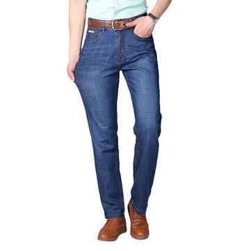 Erkek İlkbahar Yaz Yüksek Rise Gevşek İş Pamuk Mavi Kotlar