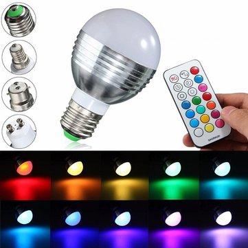 E27 / b22 / gu10 / e14 9w rgbw LED luz cor mudando lâmpada bulb + remoto ac 85-265v