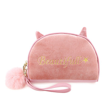 Velvet Cartoon Lovely Style Cosmetic Storage Bags Clutch Purse Wallet For Women