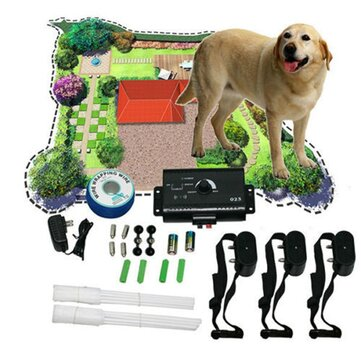 Electronic Dog Fencing System Dog Training Device Underground Shock Collar 3 Collars Pet Dog Electric Fence for 3 Dogs Pet Trainer