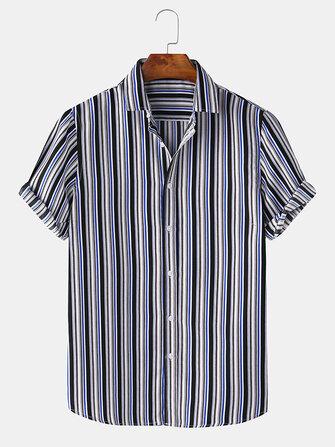 Buy Men Stripe Print Turn Down Collar Hawaii Casual Short Sleeve Shirts with 8 on Gipsybee.com
