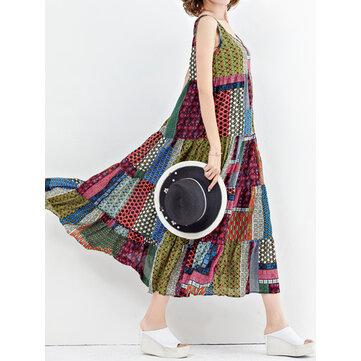 Women Bohemian Sleeveless Patchwork O-Neck Maxi Tank Dress