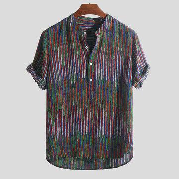 Phong cách dân tộc in Colorful Áo thun sọc đứng Cổ áo sơ mi Henley