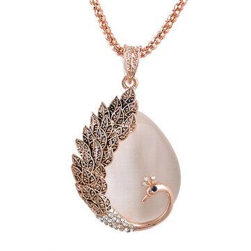 Vintage Opal Berlian Imitasi Liontin Bulu Merak Kalung Kristal Wanita Rantai Sweater