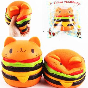Sanqi Elan Squishy Cat Burger 11 * 10cm långsammare Soft Animal Collection Gift Decor Leksak Original Packaging