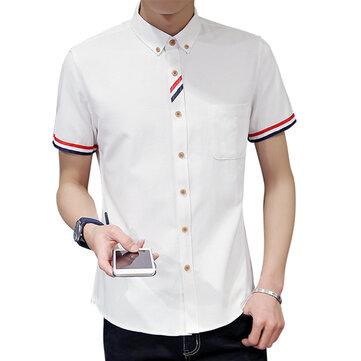 Snygg Mode Oxford Textil Kortärmad Slim Fit Button Down Skjortor för män