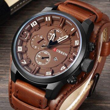 CURREN 8225  ファッション  メンズクォーツ  腕時計  クリエイティブレザーストラップ  スポーツウォッチ