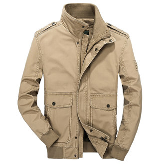 Mens Outdoor Stand Collar Solid Color Military Big Pockets Jacket Cotton Autumn Coat